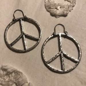 Silver Lucky Brand Peace Sign Earrings.